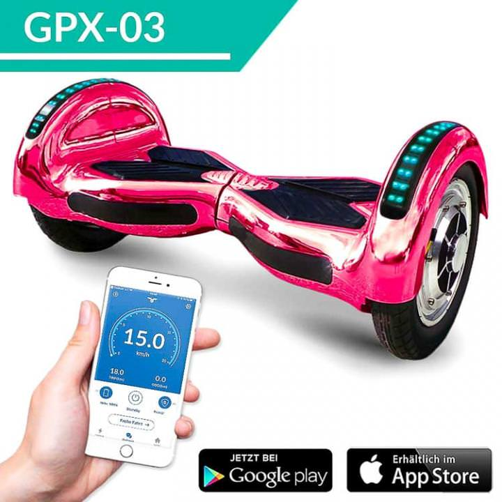 "10"" Zoll Hoverboard 800Watt mit APP - Farbe Pink-Chrome"